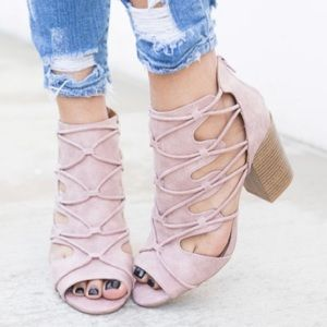 🆕Fatima Lace Up Blush Peep Toe Booties